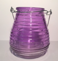 Beehive Glass Coloured Tea Light ~Purple